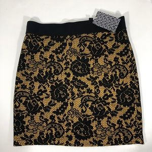 Lace Overlay H&M Divided Mini Skirt 6/26 Yellow